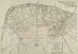 A PLAN OF STREETS, ROADS, &C, BETWEEN BLACK FRYERS BRIDGE, LONDON BRIDGE, WESMINSTER BRIDGE, LAMBETH, NEWINGTON BUTTS, & ST. MARGARETS HILL